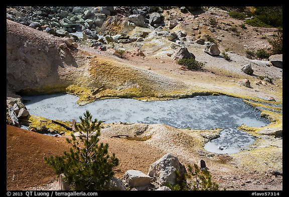 Boiling mud pot and colorful mineral deposits. Lassen Volcanic National Park (color)