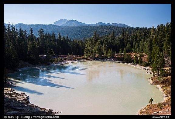 Boiling Springs Lake and Lassen Peak. Lassen Volcanic National Park (color)