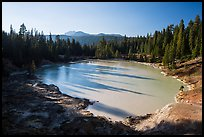 Boiling Springs Lake with long shadows in late afternoon. Lassen Volcanic National Park ( color)