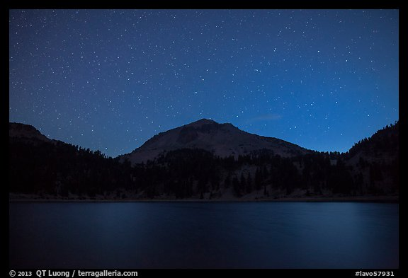 Lake Helen and Lassen Peak at night. Lassen Volcanic National Park (color)