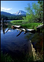 Manzanita Lake and Mount Lassen, morning spring. Lassen Volcanic National Park, California, USA.
