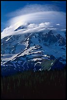 Mt Rainier with lenticular cloud. Mount Rainier National Park, Washington, USA.