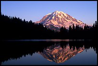 Mt Rainier with perfect reflection in Eunice Lake at sunset. Mount Rainier National Park, Washington, USA. (color)