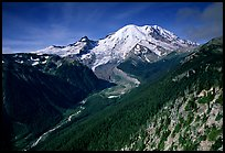 Emmons Glacier and Mt Rainier from Sunrise, morning. Mount Rainier National Park, Washington, USA. (color)