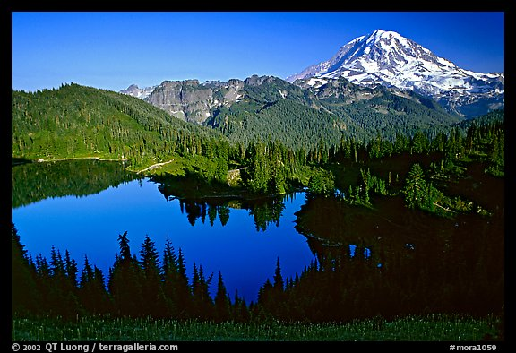 Eunice Lake and Mt Rainier, afternoon. Mount Rainier National Park, Washington, USA.