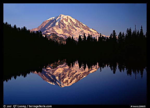 Mount Rainier with calm reflection in Eunice Lake, sunset. Mount Rainier National Park (color)
