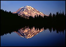 Mount Rainier with calm reflection in Eunice Lake, sunset. Mount Rainier National Park, Washington, USA. (color)