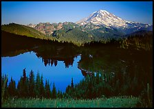 Eunice Lake seen from above with Mt Rainier behind, afternoon. Mount Rainier National Park, Washington, USA.