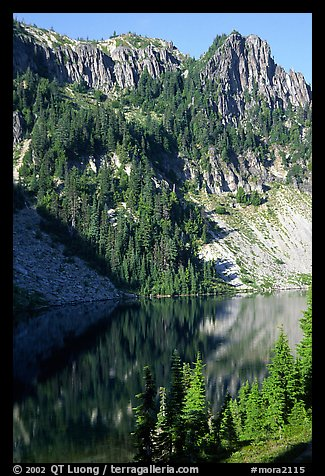 Cliffs reflected in Eunice Lake. Mount Rainier National Park (color)