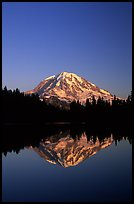 Mt Rainier reflected in Eunice Lake, afternoon. Mount Rainier National Park, Washington, USA.