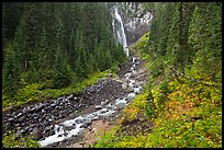 Comet Falls and Van Trump Creek. Mount Rainier National Park ( color)