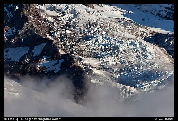 Glaciers and fog. Mount Rainier National Park (color)
