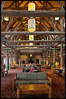 Paradise Inn Lobby. Mount Rainier National Park, Washington, USA. (color)