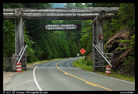 Picture Photo Park Entrance Gate Mount Rainier National Park