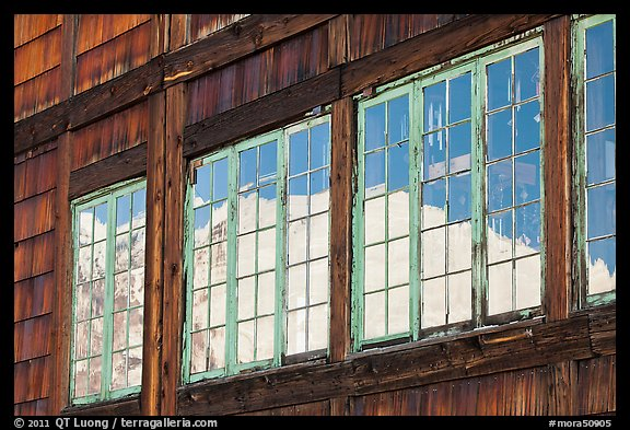 Mt Rainier, Sunrise Day Lodge window reflexion. Mount Rainier National Park (color)