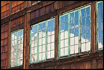 Mt Rainier, Sunrise Day Lodge window reflexion. Mount Rainier National Park, Washington, USA. (color)