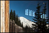Mt Rainier, Sunrise Visitor Center window reflexion. Mount Rainier National Park ( color)