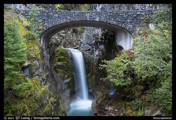 Stone Bridge and Christine Falls. Mount Rainier National Park (color)
