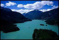 Turquoise waters in Diablo lake. North Cascades National Park, Washington, USA.