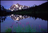 Mount Shuksan and Picture lake, sunset. North Cascades National Park, Washington, USA.