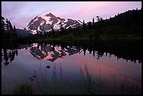Mount Shuksan and Picture lake, sunset,  North Cascades National Park. Washington, USA.