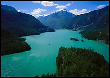 Turquoise waters in Diablo lake, North Cascades National Park Service Complex. Washington, USA.