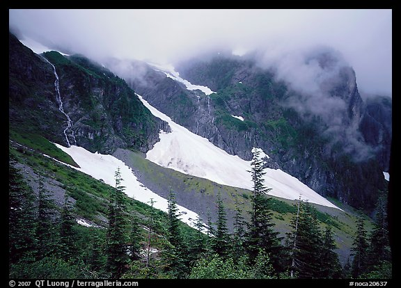 Cascades and snowfields, below Cascade Pass, North Cascades National Park. Washington, USA.
