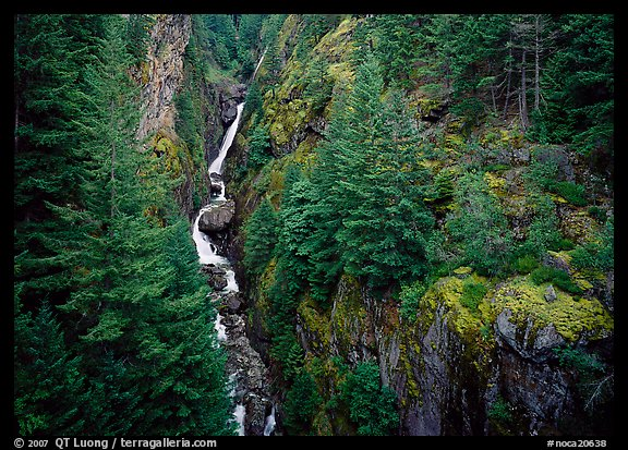 Gorge Creek falls in summer, North Cascades National Park Service Complex.  (color)