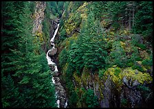 Gorge Creek falls in summer, North Cascades National Park Service Complex. Washington, USA.