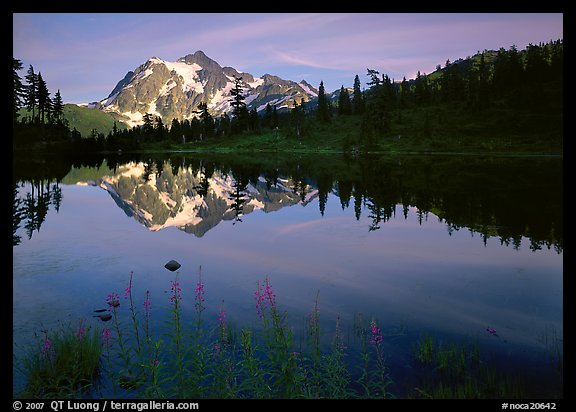 Mount Shuksan and Picture lake, sunset,  North Cascades National Park.  (color)