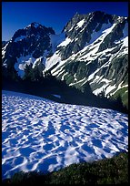 Late summer snow and peaks, Cascade Pass area, morning, North Cascades National Park. Washington, USA.