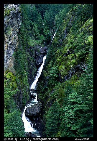 Waterfall in narrow gorge,  North Cascades National Park Service Complex.  (color)