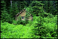 Log cabin, Glacier Peak Wilderness. Washington (color)