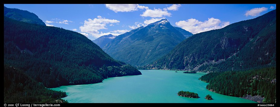 Turquoise colored lake and mountains, North Cascades National Park Service Complex.  (color)