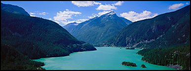 Turquoise colored lake and mountains. North Cascades National Park (Panoramic color)