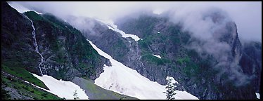 Waterfalls, neves, and clouds, North Cascades National Park.  (Panoramic color)