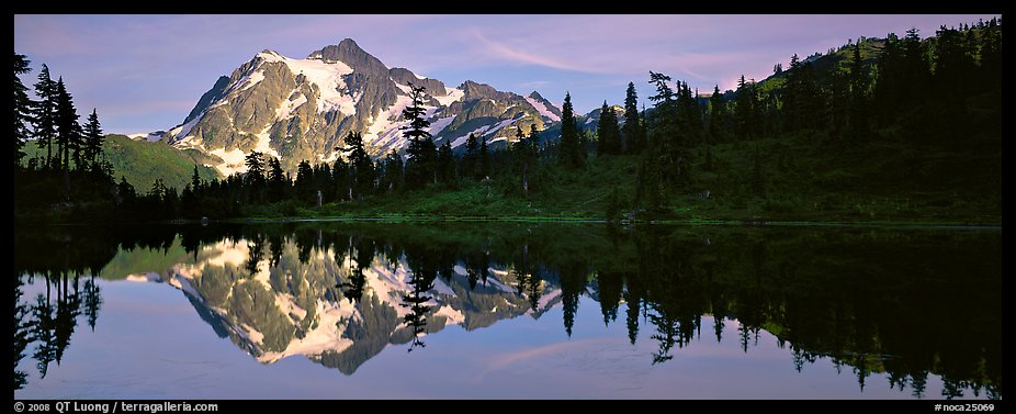 Lake with mountain reflection. North Cascades National Park (color)
