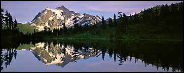 Lake with mountain reflection. North Cascades National Park (Panoramic color)