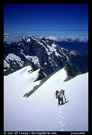 Ascending Sahale Peak,  North Cascades National Park.  (color)