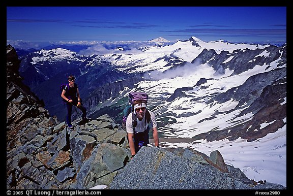 Mountaineers on ridge below  summit of Sahale Peak, North Cascades National Park.  (color)