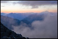 Clouds and ridges at sunset, North Cascades National Park. Washington, USA.