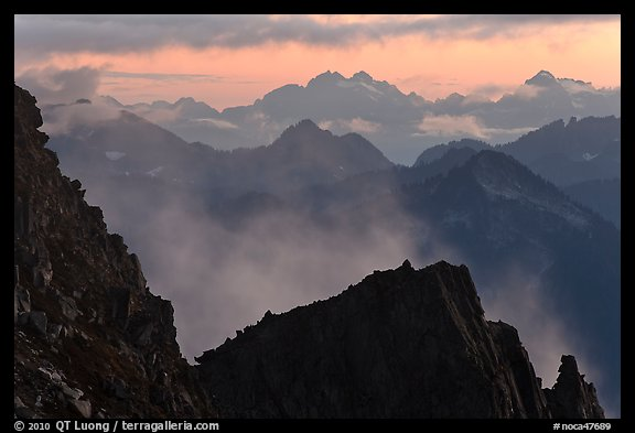 Receding mountain ridges, North Cascades National Park. Washington, USA.