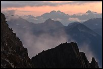 Receding mountain ridges, North Cascades National Park. Washington, USA. (color)