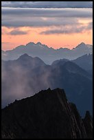 Jagged mountain ridges at sunset, North Cascades National Park.  ( color)