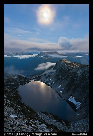 Moon above Hidden Lake, North Cascades National Park.  (color)