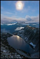 Moon above Hidden Lake, North Cascades National Park. Washington, USA. (color)