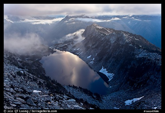 Hidden Lake with moonlight reflected, North Cascades National Park.  (color)