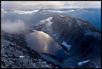 Hidden Lake with moonlight reflected, North Cascades National Park. Washington, USA.