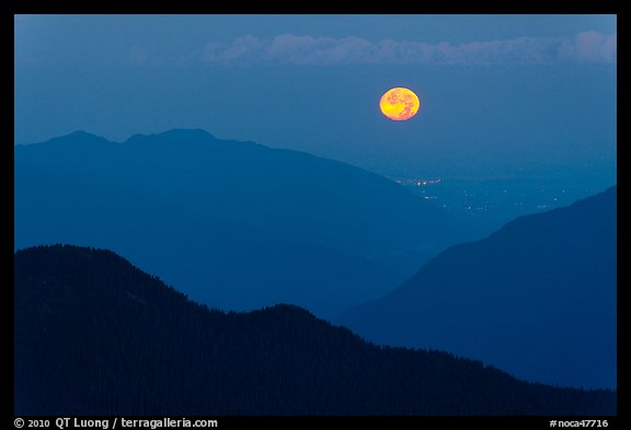 Moon setting over ridges, North Cascades National Park.  (color)
