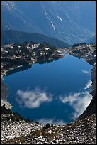 Hidden Lake, with clouds reflected, North Cascades National Park. Washington, USA.